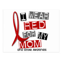 Stroke I WEAR RED FOR MY MOM 37 Postcard