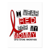 Stroke I WEAR RED FOR MY MOMMY 37 Postcard