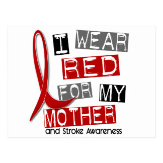 Stroke I WEAR RED FOR MY MOTHER 37 Postcard
