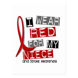 Stroke I WEAR RED FOR MY NIECE 45 Postcard