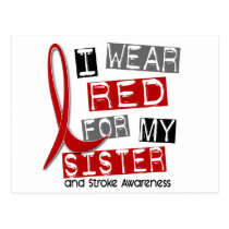 Stroke I WEAR RED FOR MY SISTER 37 Postcard