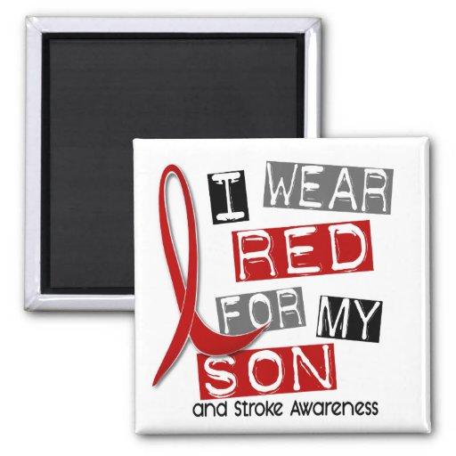 Stroke I WEAR RED FOR MY SON 37 Fridge Magnet