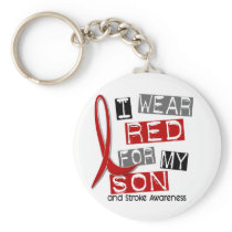 Stroke I WEAR RED FOR MY SON 37 Keychain
