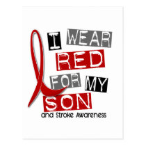 Stroke I WEAR RED FOR MY SON 37 Postcard