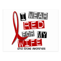 Stroke I WEAR RED FOR MY WIFE 37 Postcard
