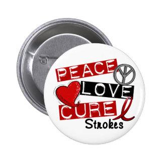 Stroke PEACE LOVE CURE 1 Pinback Buttons