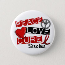 Stroke PEACE LOVE CURE 1 Pinback Button
