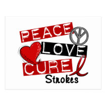 Stroke PEACE LOVE CURE 1 Postcard