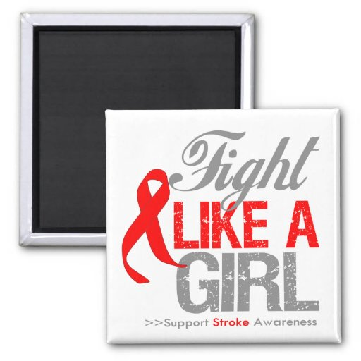Stroke Ribbon - Fight Like a Girl Fridge Magnets