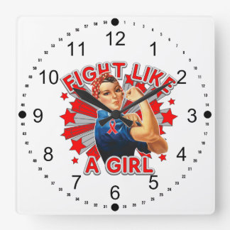 Stroke Vintage Rosie Fight Like A Girl.png Square Wall Clock