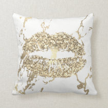 Strokes Gold Glitter Kiss Lips Makeup White Marble Throw Pillow