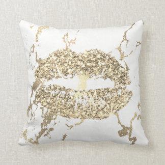 Strokes Gold Glitter Kiss Lips Makeup White Marble Throw Pillow
