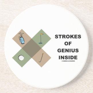 Strokes Of Genius Inside Golf Cross Pattern Drink Coaster