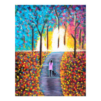 Stroll On The Pathway With A Dog Colorful Painting Letterhead