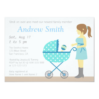 Stroller and Mum, Boy Baby Shower Invitation