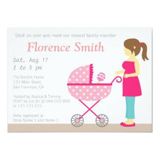 "Stroller and Mum, Girl Baby Shower Invitation 4.5"" X 6.25"" Invitation Card"