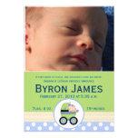 Stroller Baby Boy Custom Photo Birth Card Custom Invitations