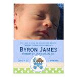 Stroller Baby Boy Custom Photo Birth Card Personalized Invitation