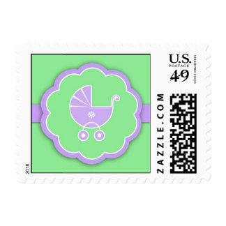 Stroller Baby Shower Green Small Postage