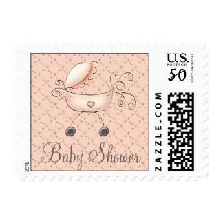 Stroller Baby Shower Invitation Stamp (Girl)