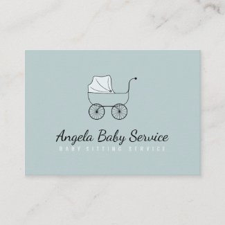 Stroller Baby sitter Daycare Nursery Teal Business Card