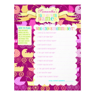 """Stroller Chic """"Baby Shower Games"""" Activity Sheet Flyers"""