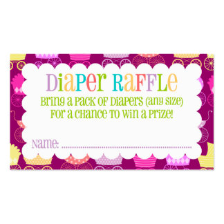 Stroller Chic - Girly - Diaper Raffle Ticket Business Card Template
