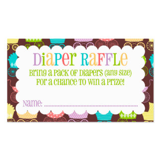 Stroller Chic Rainbow & Brown Diaper Raffle Ticket Business Card