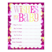 """Stroller Chic """"Wishes For Baby"""" (Girly) Card"""