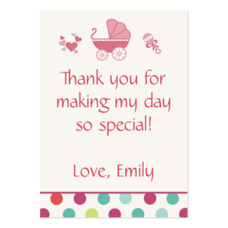 Stroller Gift Favor Label Tag Baby Girl Shower Large Business Card