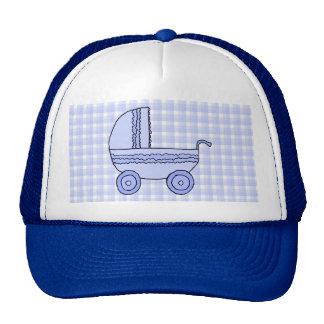 Stroller. Light Blue on Check Pattern. Trucker Hat