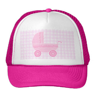 Stroller. Light Pink on Pink Gingham. Trucker Hat
