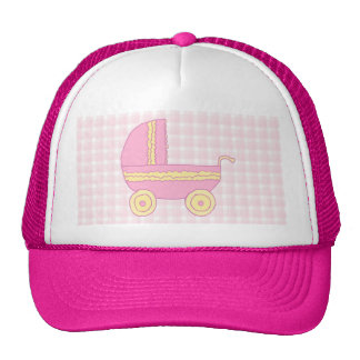 Stroller. Pink and Yellow on Pink Check. Trucker Hat