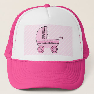 Stroller. Pink on Light Pink Stripes. Trucker Hat