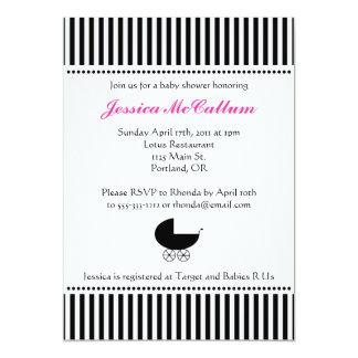 """Stroller Silhouette Invitation - Bright Pink 5"""" X 7"""" Invitation Card"""