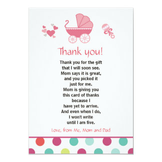 Stroller Thank You Card Baby Girl Shower