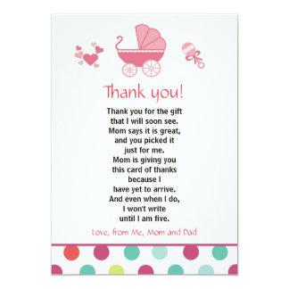 Stroller Thank You Card Baby Girl Shower