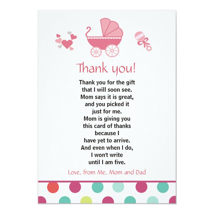 stroller thank you card baby girl shower zazzle