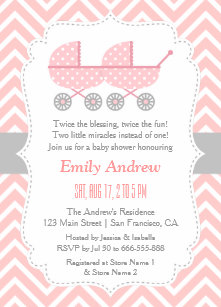 Twins baby shower invitations announcements zazzle strollers twin girl baby shower invitations filmwisefo