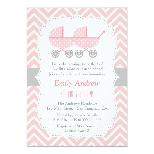 Strollers Twin Girl Baby Shower Invitations Zazzle Com