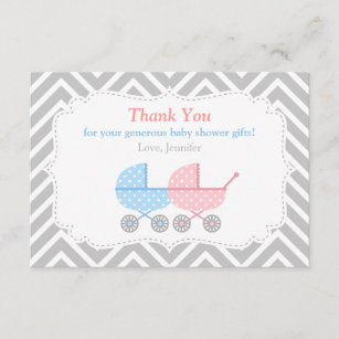Gender Reveal Thank You Cards Zazzle