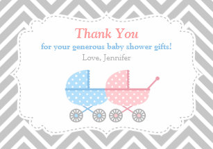 Twin Baby Shower Thank You Cards Zazzle