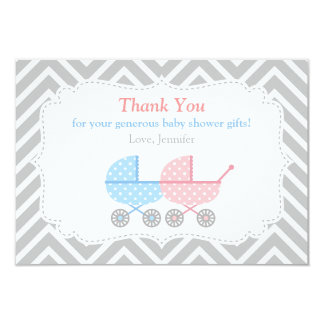 Strollers Twins Baby Shower Thank You Card