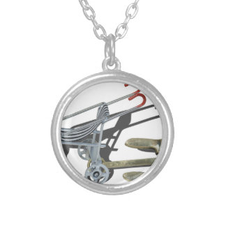 StrollerWithAnchor101115 Round Pendant Necklace