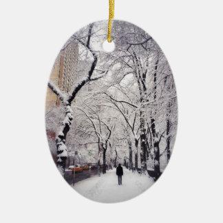 Strolling A Snowy City Sidewalk Ceramic Ornament