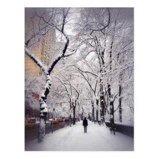 Strolling A Snowy City Sidewalk Postcard