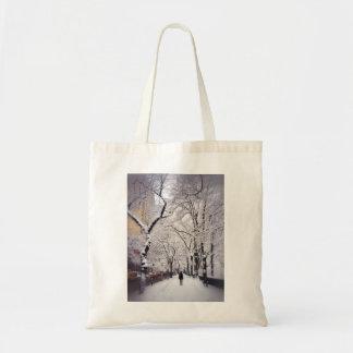 Strolling A Snowy City Sidewalk Tote Bag