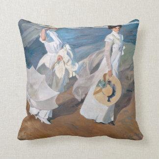 Strolling along Seashore Pillow Cushion