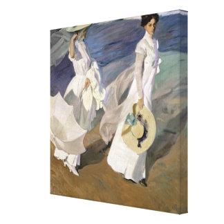 Strolling along the Seashore, 1909 Canvas Print