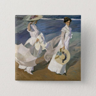 Strolling along the Seashore, 1909 Pinback Button